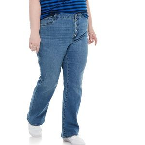 Plus Size EVRI Button Fly High Rise Flare Jeans